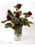 Rosas en un florero de cristal claro fotografía de archivo