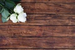 Rosas en un fondo de madera Fotos de archivo