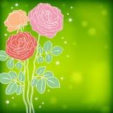 Rosas en un fondo verde de la acuarela Foto de archivo