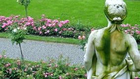 Rosas en un jardín grande En el primero plano, una figura del yeso Imagenes de archivo