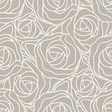 Rosas estilizados abstratas gráficas em cores bege e brancas pasteis Teste padrão moderno sem emenda do vetor Fotos de Stock Royalty Free