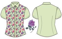 Rosas femeninas de la tela del color de la menta de la blusa del verano Elegancia lamentable del estilo romántico retro de la cam Imagenes de archivo
