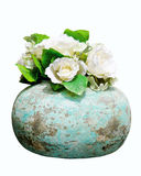 Rosas florecientes del resorte en jarro de la vendimia Imagen de archivo libre de regalías