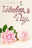 Rosas florecientes rosadas en la madera Imagen de archivo libre de regalías