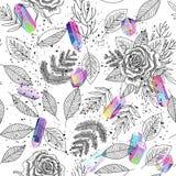 Rosas, folhas, vetor sem emenda do fundo dos cristais ilustração do vetor