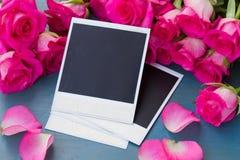 Rosas frescas com fotos imediatas Imagens de Stock Royalty Free