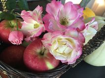 Rosas frescas e Apple da cesta da peça central da tabela da ação de graças Imagens de Stock