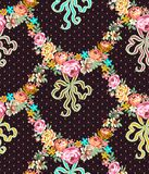 Rosas Garland Lace Seamless Pattern de Roccoco stock de ilustración