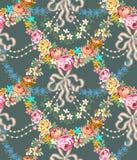 Rosas Garland Lace Seamless Pattern de Roccoco ilustración del vector