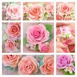 Rosas hermosas, estilo romántico: Collage de una joya de la arcilla del polímero Fotografía de archivo