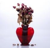 Rosas marchitadas en un final sembolizing del florero del amor Fotografía de archivo