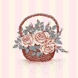 Rosas na cesta Imagem de Stock