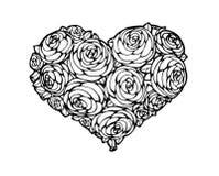 Rosas na forma de um coração Imagens de Stock Royalty Free