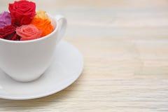 Rosas no copo de café Imagens de Stock