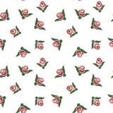 Rosas no teste padrão sem emenda do fundo branco Imagens de Stock Royalty Free