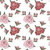 Rosas no teste padrão sem emenda do fundo branco Fotografia de Stock Royalty Free