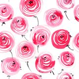 Rosas pintadas aquarela ilustração royalty free