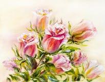 Rosas, pintura a óleo na lona ilustração royalty free