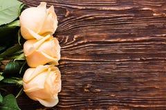 Rosas poner crema frescas en un fondo de madera Imagen de archivo libre de regalías