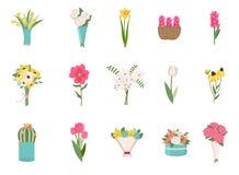 Rosas, ramo de las margaritas y vector exótico de las plantas ilustración del vector