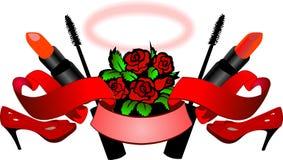 Rosas rojas, altos talones, lápiz labial, rimel, desfile y Nimbo - esencia de Womans. Foto de archivo