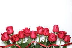 Rosas rojas con la cinta en el fondo blanco El día de tarjeta del día de San Valentín, aniversario y fondo de la enhorabuena Imagenes de archivo