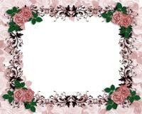 Rosas rojas de la invitación de la boda ornamentales Fotos de archivo