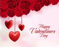 Rosas rojas dulces del día de tarjetas del día de San Valentín stock de ilustración