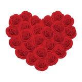Rosas rojas en la dimensión de una variable del corazón Foto de archivo