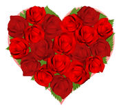 Rosas rojas hermosas en dimensión de una variable del corazón Imagen de archivo libre de regalías