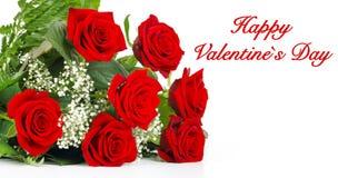 Rosas rojas para el día de tarjeta del día de San Valentín Imagen de archivo