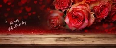Rosas rojas para el día de tarjetas del día de San Valentín Imágenes de archivo libres de regalías