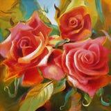 Rosas rojas pintadas a mano en lona Fotografía de archivo libre de regalías