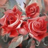 Rosas rojas pintadas a mano en lona Imágenes de archivo libres de regalías