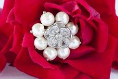 Rosas rojas y anillos de bodas Fotos de archivo