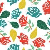 Rosas rojas y azules con las hojas coloridas, en un diseño inconsútil del modelo ilustración del vector