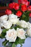Rosas rojas y blancas en florero Foto de archivo