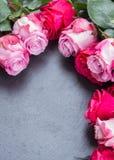 Rosas rojas y rosadas en la tabla Imagenes de archivo