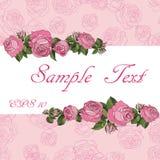 Rosas românticas do rosa do bunner ilustração do vetor