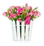 Rosas rosadas del ramo en pote foto de archivo libre de regalías