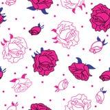 Rosas rosadas en el fondo blanco inconsútil stock de ilustración