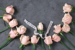 Rosas rosadas en fondo gris Fotos de archivo libres de regalías