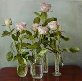 Rosas rosadas en los floreros de cristal Imagen de archivo libre de regalías