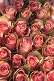 Rosas rosadas en un arreglo nupcial Imagen de archivo