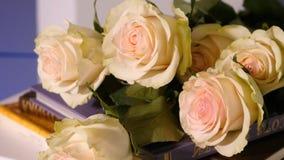 Rosas rosadas en un libro viejo Cierre para arriba de la flor color de rosa del pétalo rosado con el ramo rosado de la flor de la Foto de archivo libre de regalías