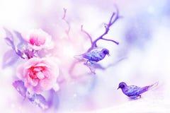 Rosas rosadas hermosas y pequeños pájaros fantásticos púrpuras y azules en la imagen natural artística de la nieve y de la primav Fotografía de archivo