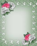 Rosas rosadas y blancas de la frontera de la boda Foto de archivo libre de regalías