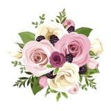 Rosas rosadas y blancas y flores del lisianthus Ilustración del vector Fotos de archivo libres de regalías