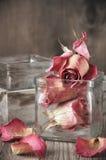 Rosas secadas no frasco Foto de Stock