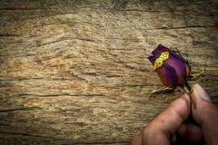 Rosas secas obscuras na textura de madeira, amor seco no Valentim, foco seleto Fotografia de Stock